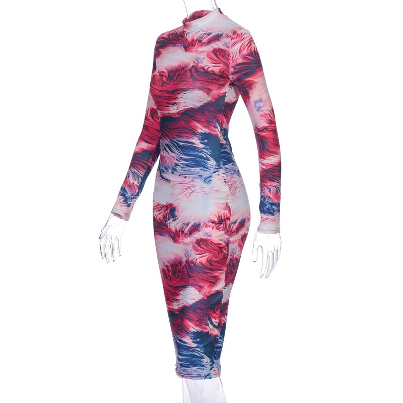 Bodycon Print Tie Dye Midi Dress