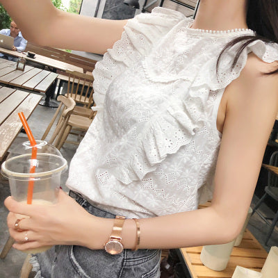 Flounce Shoulder Embroidery Lace Ruffle White Women Blouse