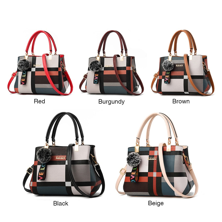 Casual Stitching Wild Plaid Women Shoulder Bag
