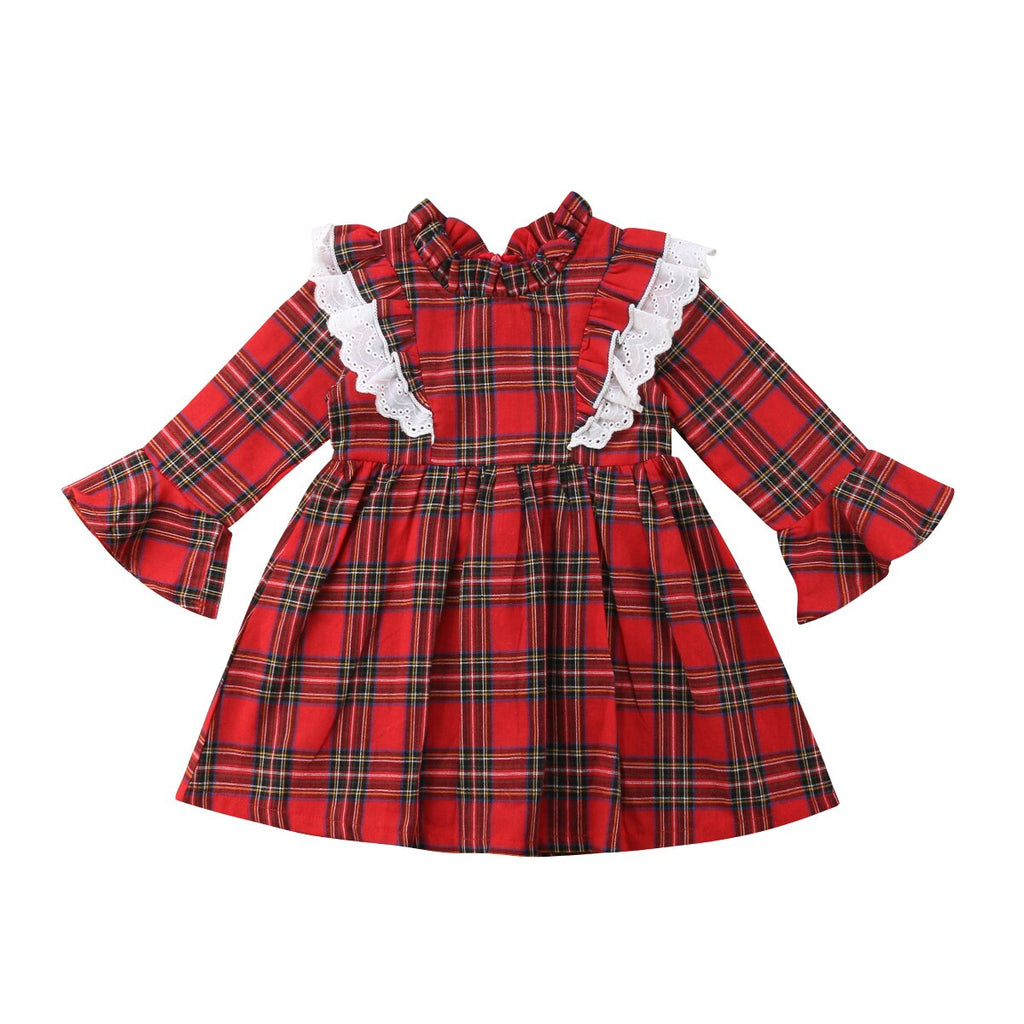 Lace Checks  Red Plaid Girls Bodysuit & Mini Dress