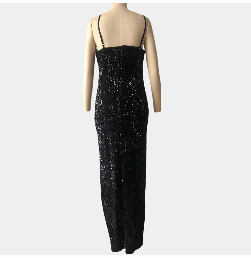High Slit Spaghetti Strap Sequined Maxi Black Dress