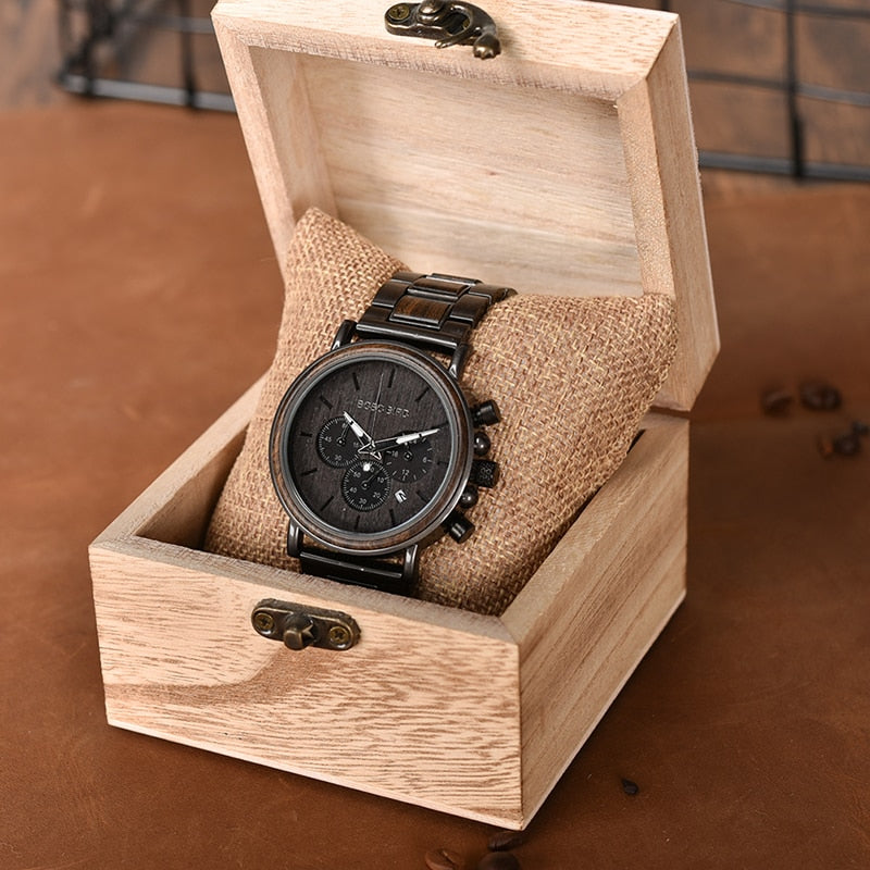 Luxury Stainless Steel Chronograph Wooden Watch For Men