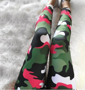 Elastic Waist Camo Yoga & Sports Leggings For Women