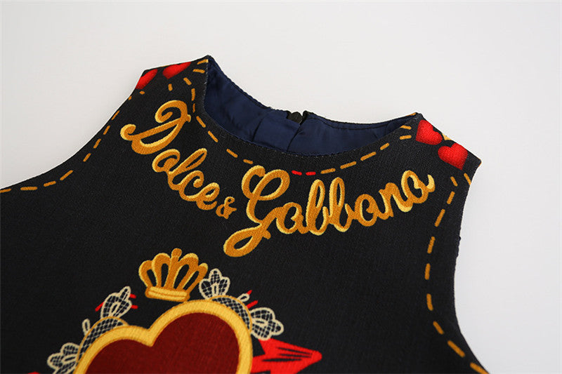 European & American Style Embroidery Flower Black Girls Dress
