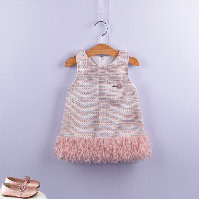 A-Line Plaid Sleeveless Girls Princess Dress