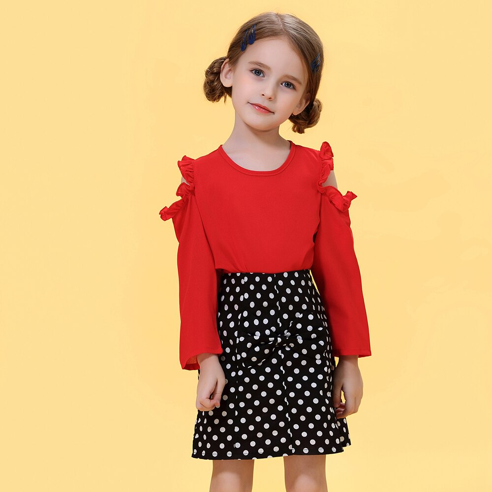 Dot Flying Sleeve Shirt & Strap Dress With Headband For Girls