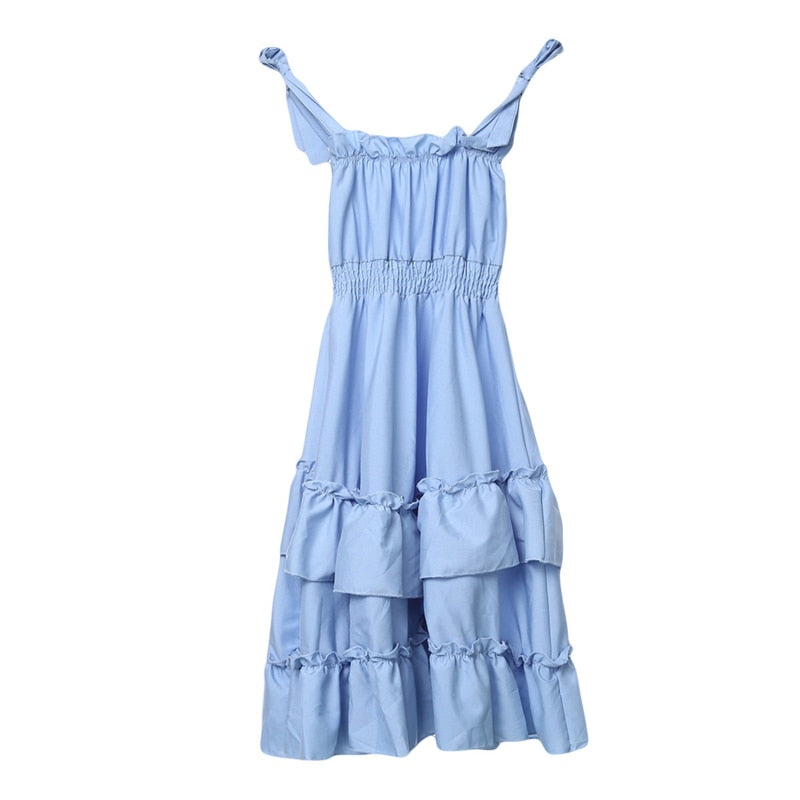 Cute Draped Sleeveless Strap Maxi Girls Sundress
