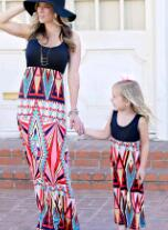 Flower Printed Mother & Daughter Matching Tank Maxi Dress