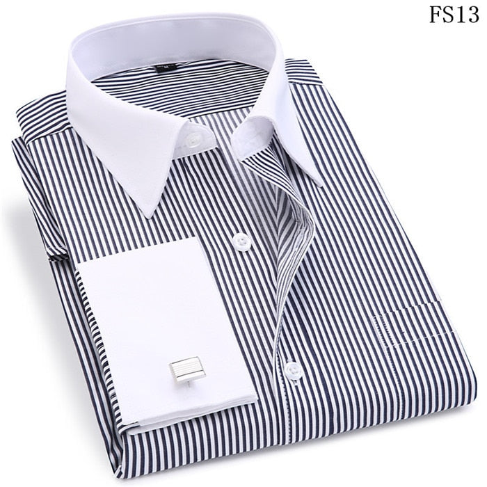 French Cufflinks Slim Fit Men's Dress Shirt