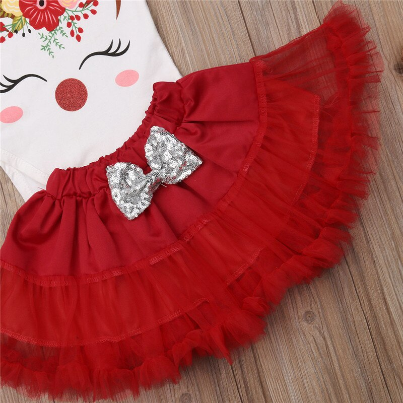 Cute Cotton Short Sleeve Top & Tutu Skirt For Baby Girls