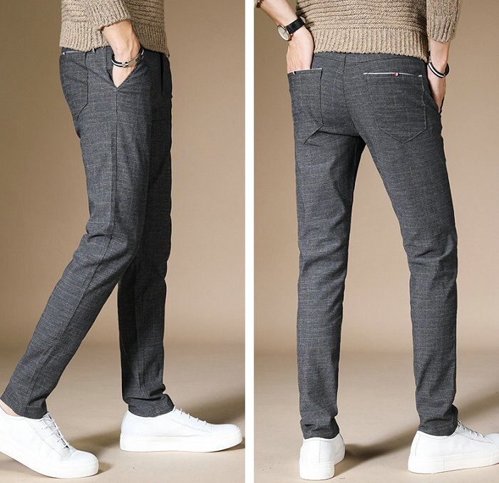 Cotton Blended Grid Straight Slim Fit Men Business Pant