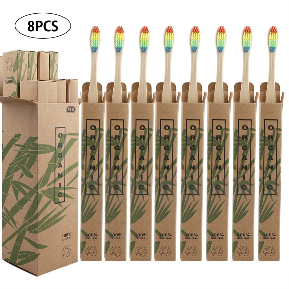 8Pcs Eco-Friendly Bamboo Wooden Adult Toothbrushes