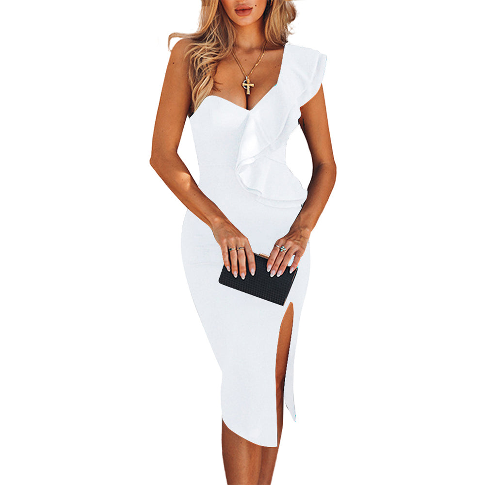 One Shoulder Ruffles Bodycon Bandage Party Dress