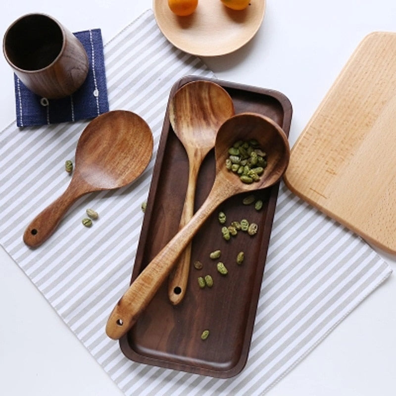Thailand Teak Natural Wood Tableware Spoon Set