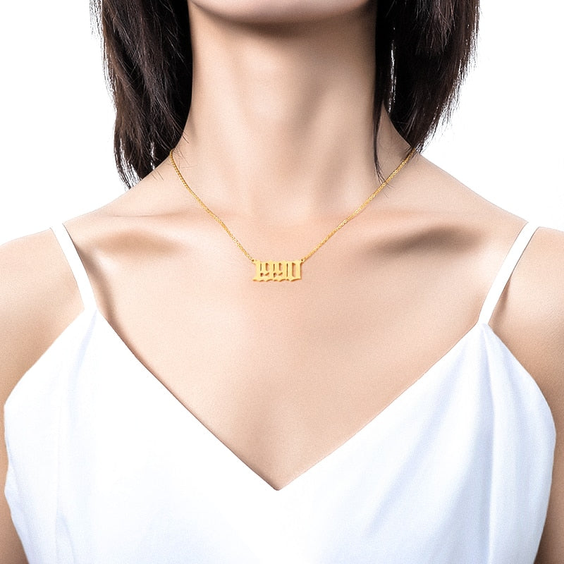 Stainless Steel Year Number Custom Necklaces For Women