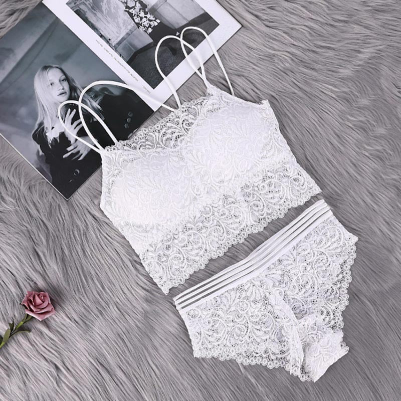 Sexy Transparent Lace Bra and Panty Set For Women