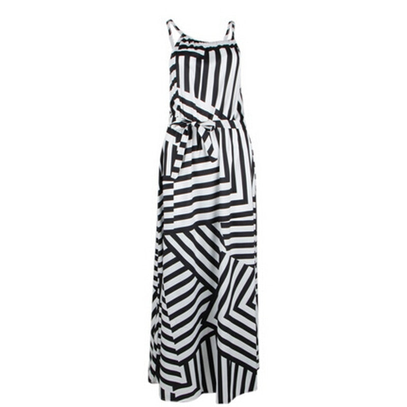 Boho Striped Sleeveless Beach Style Strap Maxi Sundress