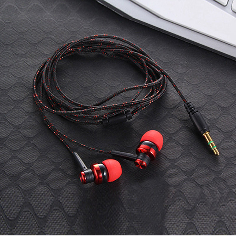 Braided Rope Earphone with Microphone Subwoofer for iPhone Samsung Xiaomi Redmi 3 Tablet PC