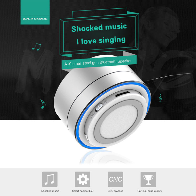 Metal Wireless Bluetooth Speaker with Microphone Portable Mini Support TF Card