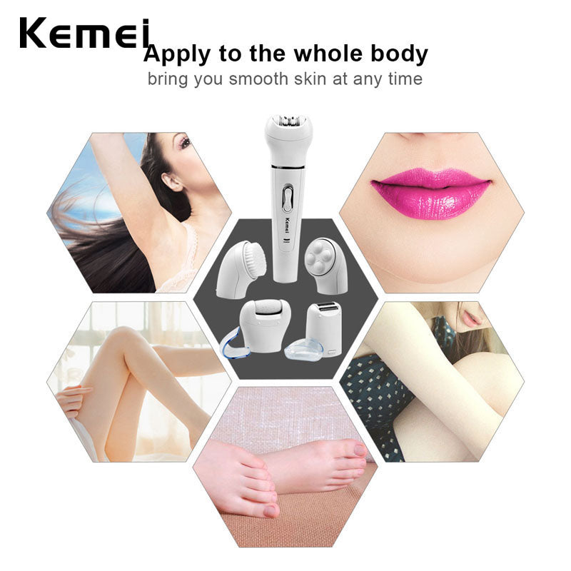 Kemei 5-in-1 Women Cleansing Brush Hair Removal