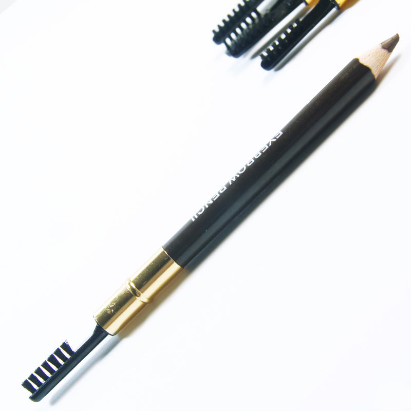 Waterproof Leopard Cosmetic Eyebrow Pencil With Brush & 3pcs Grooming Eyebrow Stencil