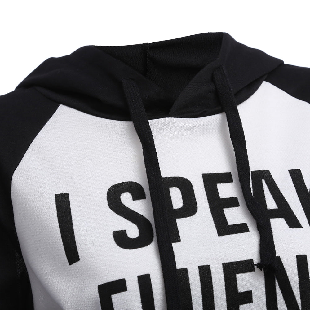 Long Sleeve Knitted With Letter Print Hoodie Sweatshirt