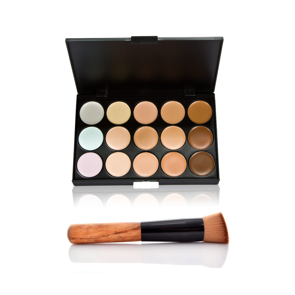 Concealer Palette & Brushes & Teardrop-Shaped Cosmetic Puff Makeup Base Foundation Face Lips