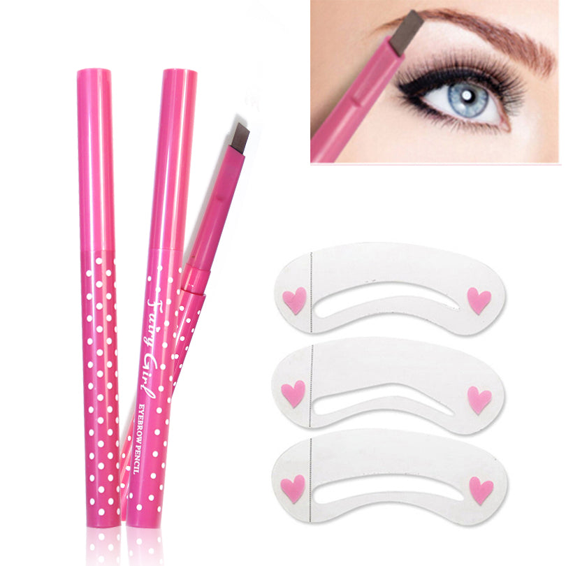 Pencil Long Lasting Waterproof Durable Eyebrow Liner+3 Eye Brow Shaping Stencils Grooming Makeup