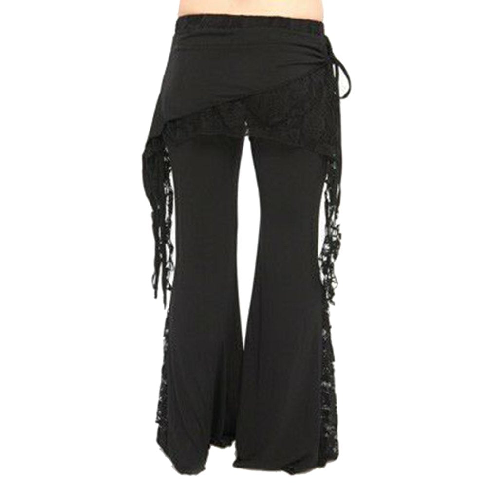 Mid Waist Lace Spliced Solid Dance Comfy Elastic Boho Flare Pants
