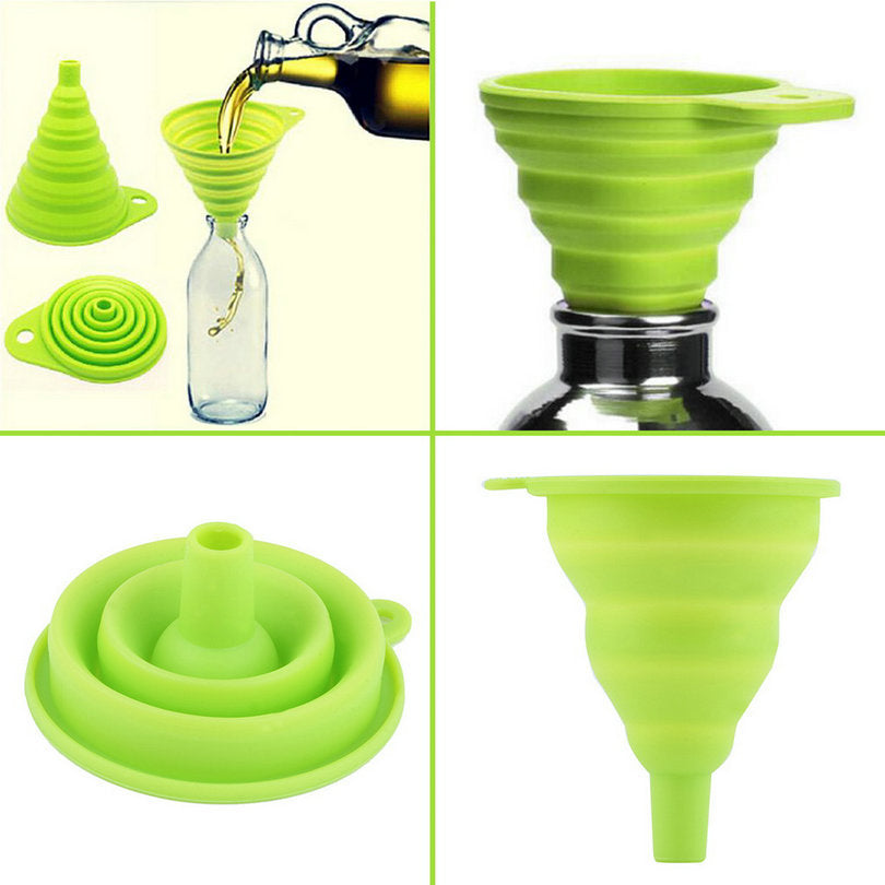 High Quality New Mini Silicone Gel Foldable Collapsible Style Funnel Hopper
