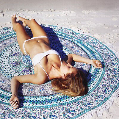 Bedding Outlet Round Beach Towel Fire Peacock Mandala 140cm