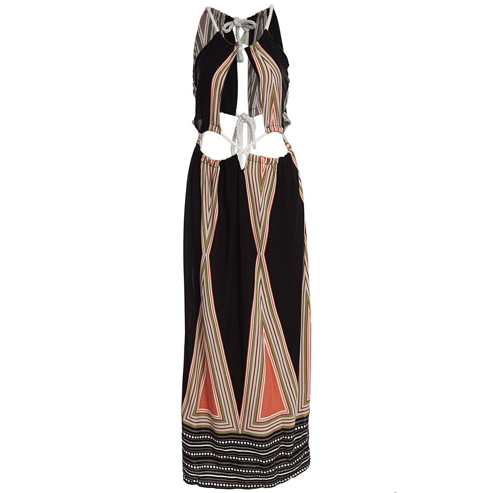 Ethnic Printed Bohemian Wrap Hollow Out Sleeveless Backless Maxi Beach Dress