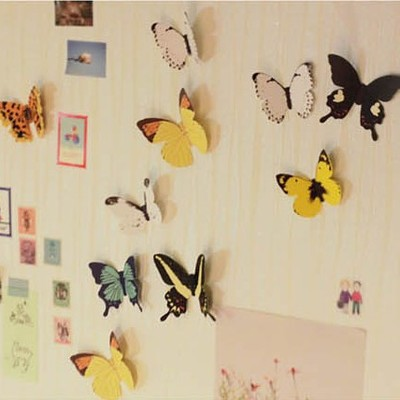 Colorful Lovely Vivid 3D Butterfly Wall Sticker 15pcs/pack