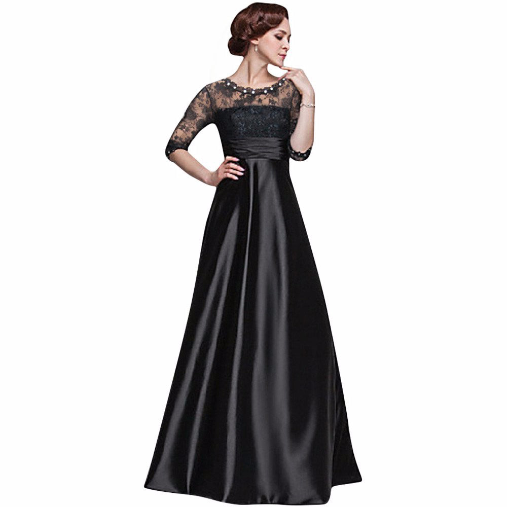 Elegant Long Tunic Floral Lace Maxi Party Dress