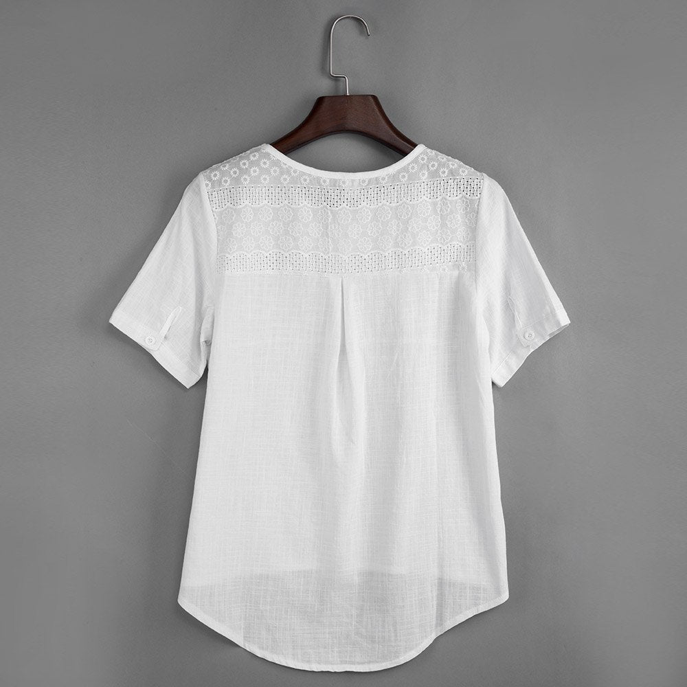 White Cotton Linen Embroidery Hollow Out Blouse Shirt