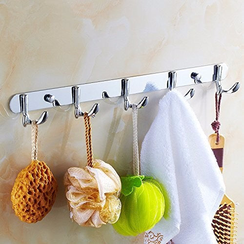 Hot Selling New Stainless Steel 7 Double Robe Hooks Bathroom Towel Coat Hat Wall Hanger