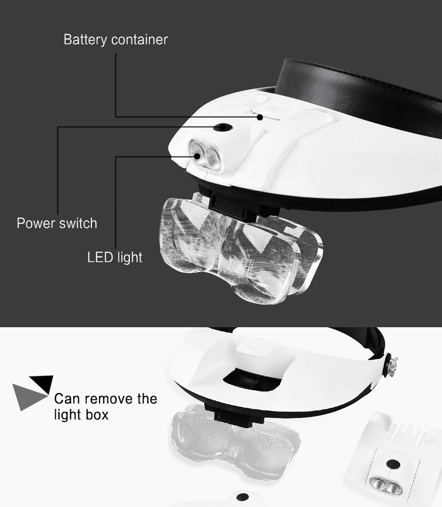 Detachable LED Headband Illuminated Magnifier with 5 Replaceable Lens