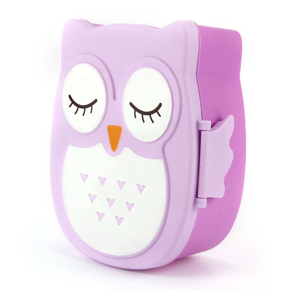Cartoon Owl Lunchbox Food & Fruit Storage Container Microwave Cutlery Set