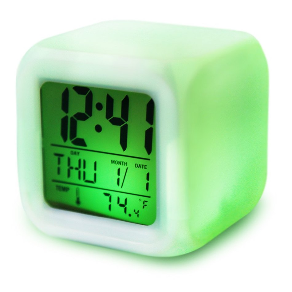 Cute 7 Colors Back Light Modern Digital Alarm Clock