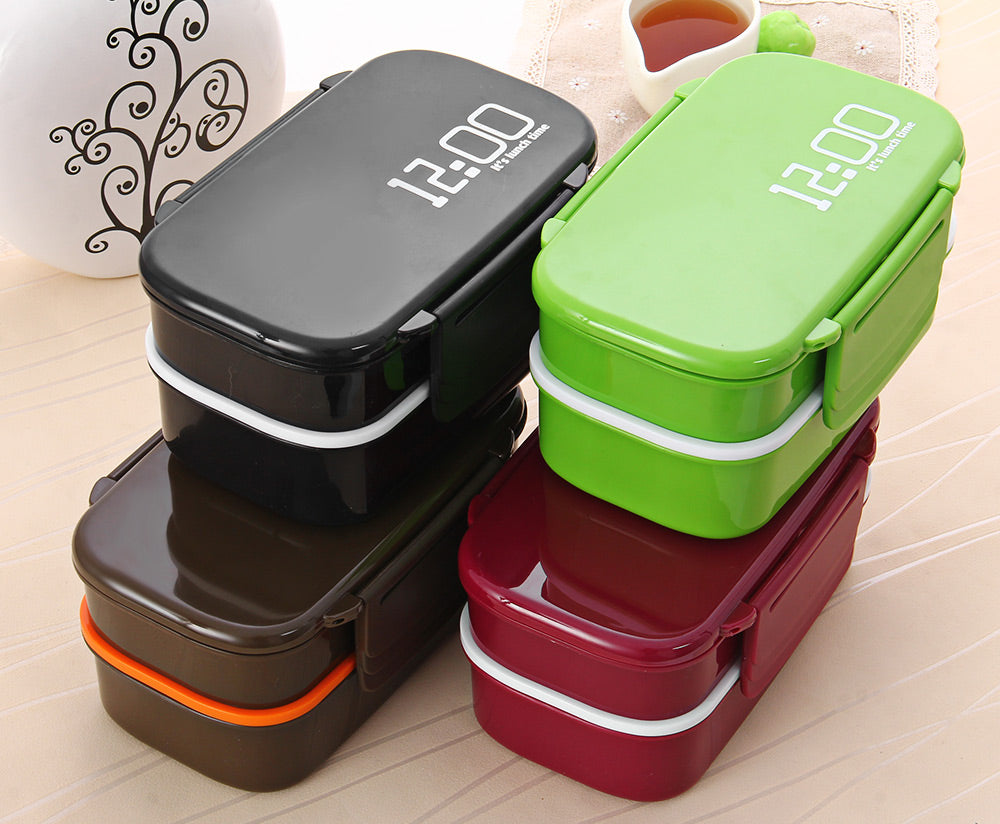 Double Tier Lunch Box 4 Color Large Meal Box