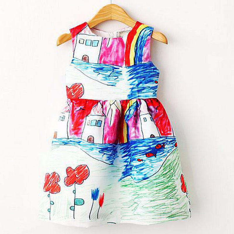 Colorful Girl Dress Character Painting