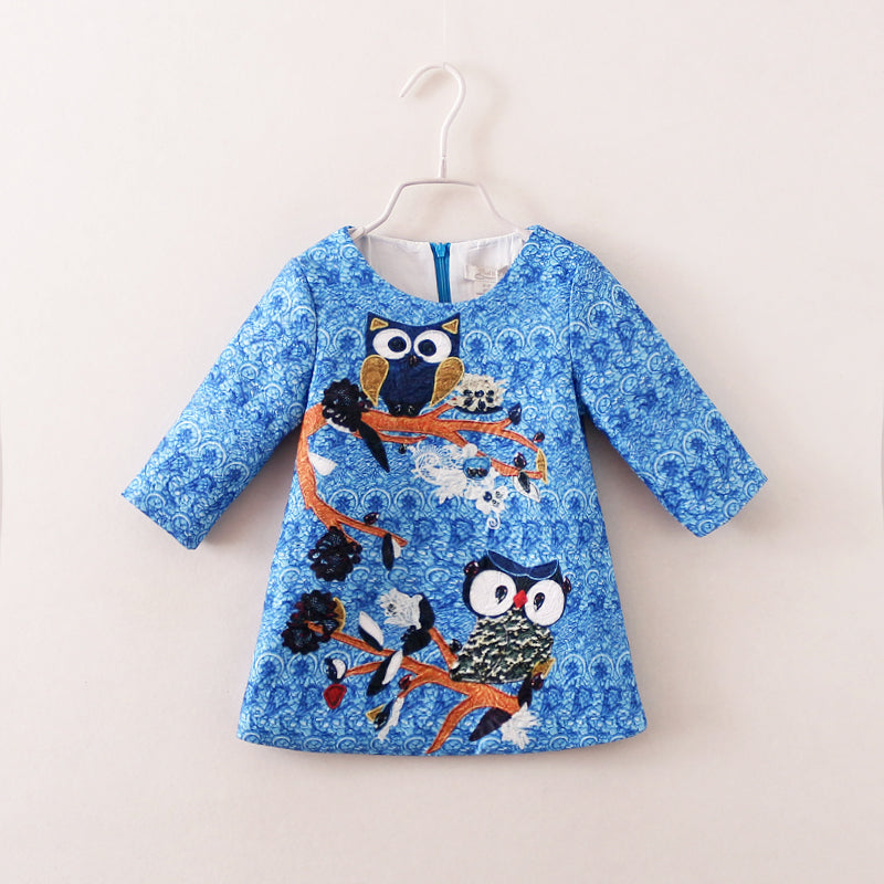 Cotton Mom And Daughter Dress Owl Printed Three Quater Sleeve