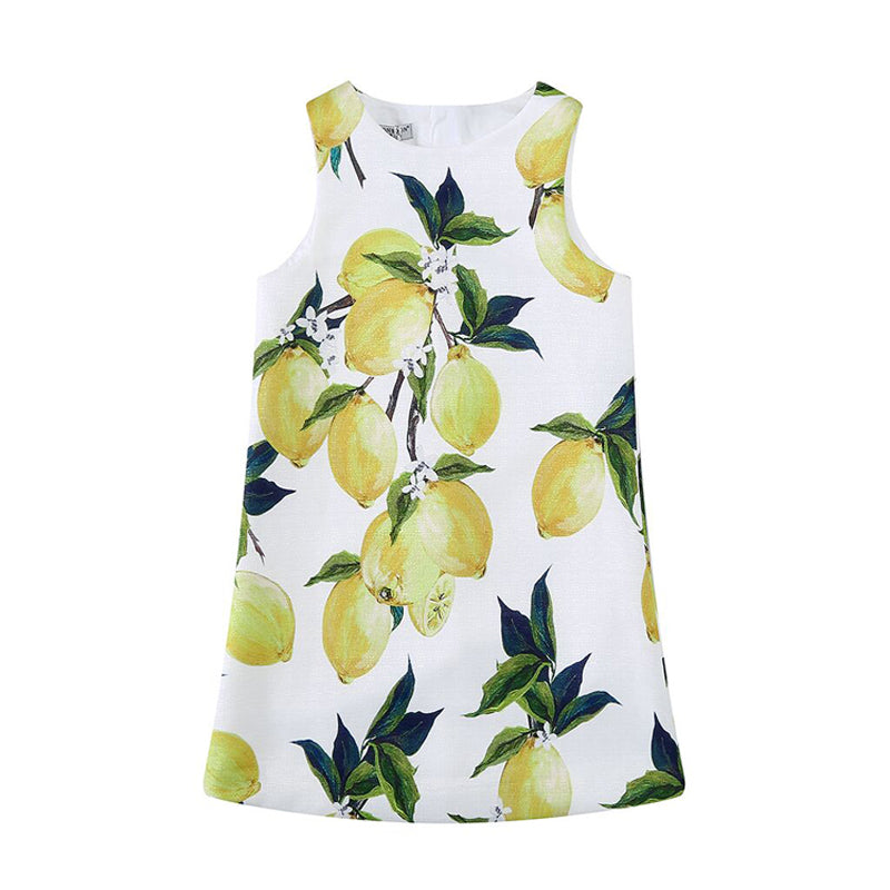 Girls Clothes Dress Cotton Lemon Printed