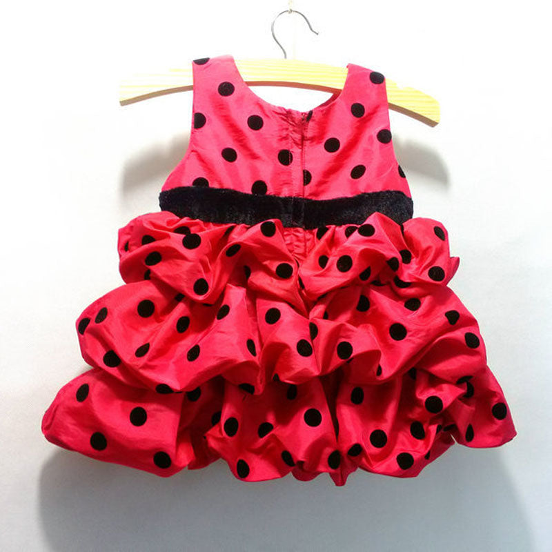 Cute Ball Gown Red Polka Dot Dresses For Girls