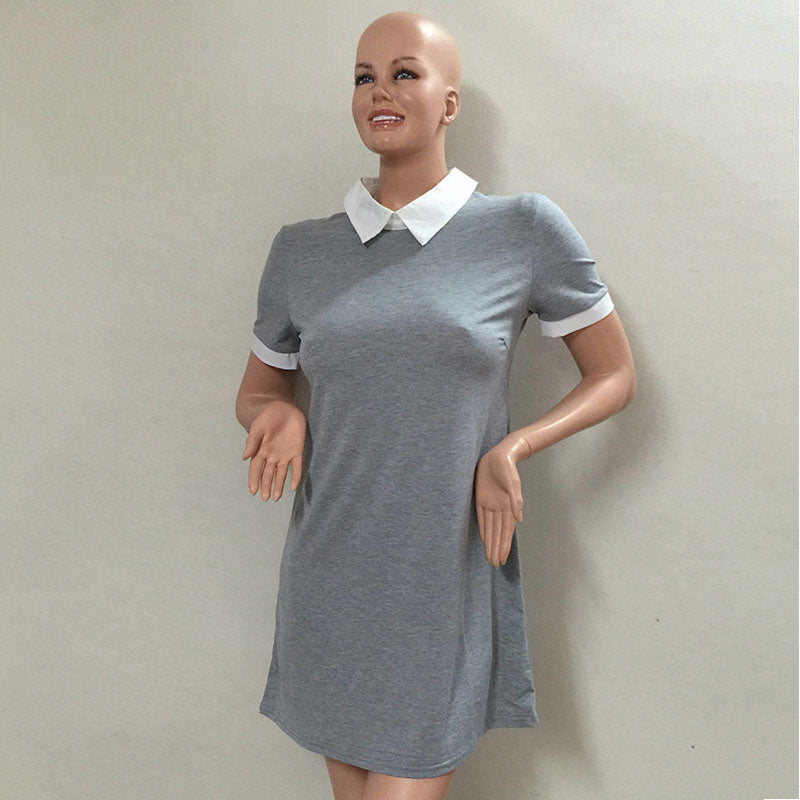 Cute Turn-Down Collar Short Sleeve Solid Slim Brief Party Dresses