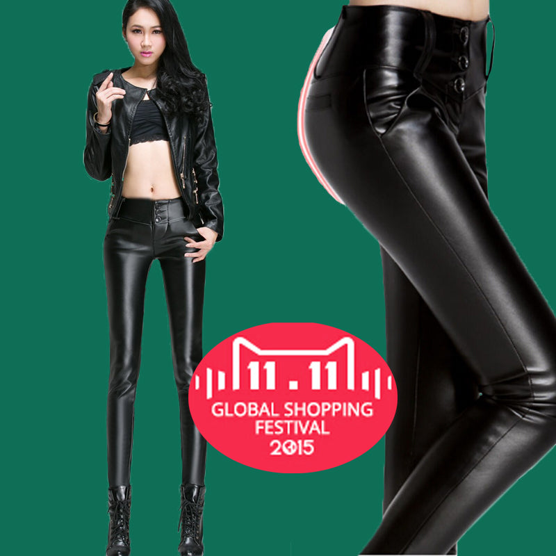 Skinny Leather Leggings Biker Faux Leather Pants