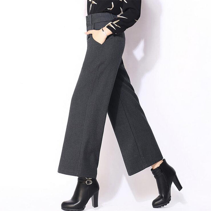 Casual Loose Wide Leg Pants Woolen Trousers For Women