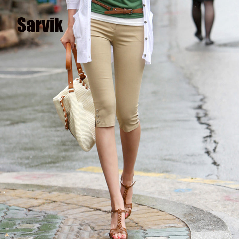 Calf-Length Pencil Pants Casual Stretch Ladies Pants