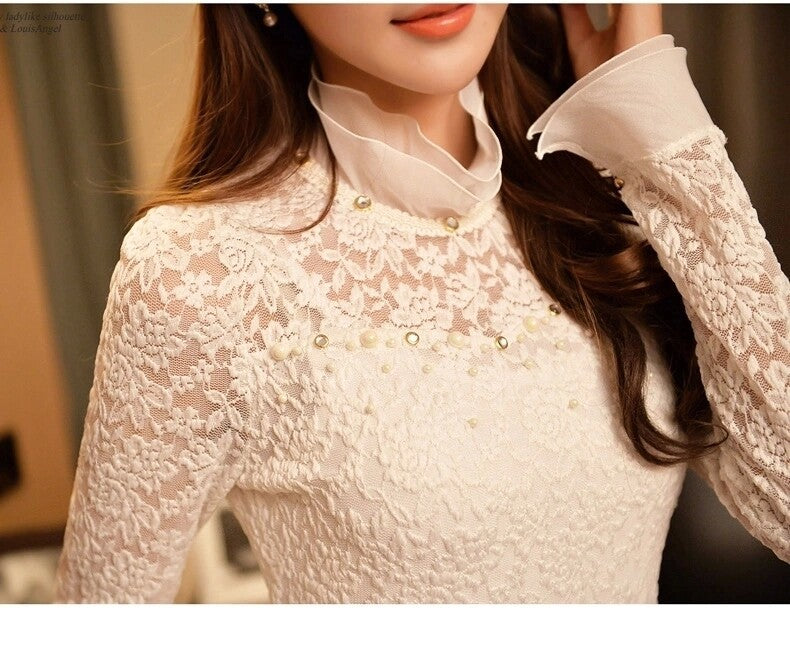 Elegant Women Lace Shirt Stretch Blouses Long Sleeve Hollow Out Tops
