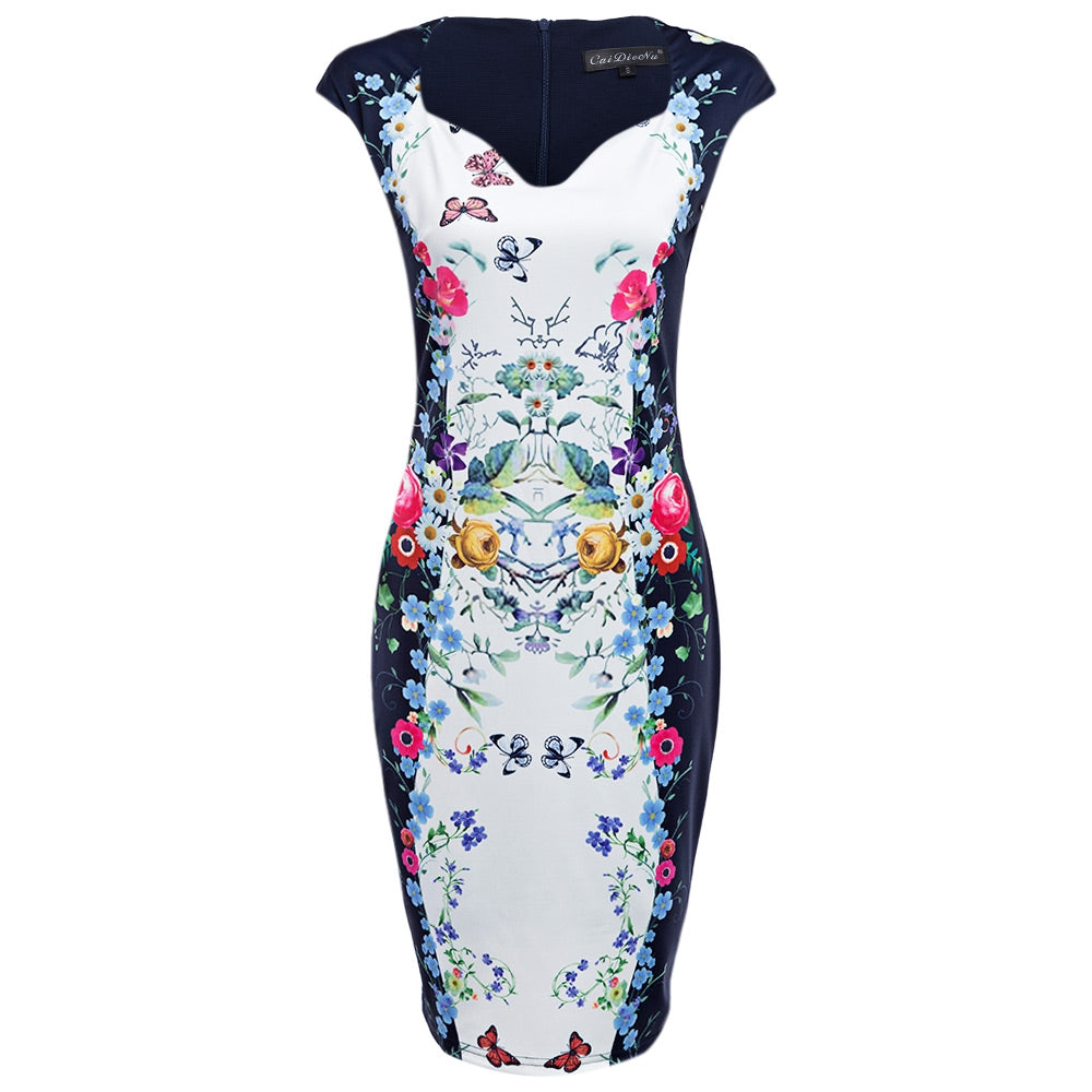 Plus Size Office Vintage Knee Length Floral Print Bodycon Tight Midi Dress